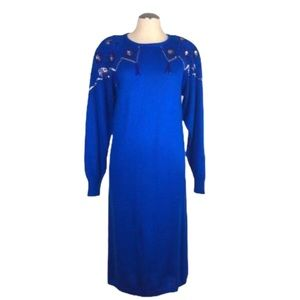 Vintage 80s blue beaded sweater dress sequins S
